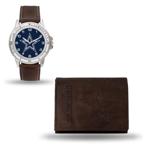 Dallas Cowboys Brown Leather Watch & Wallet Set GC4854