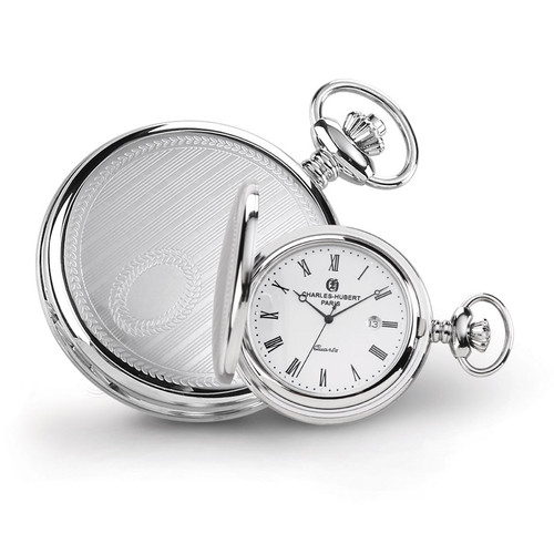 Charles Hubert Stainless Steel Stripe Design Pocket Watch XWA4468