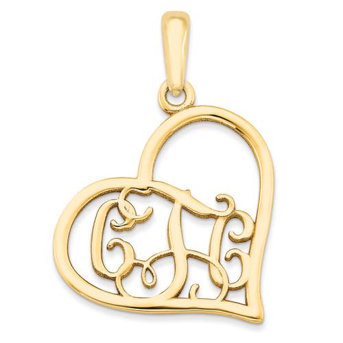 Monogram Heart Pendant 10k Yellow Gold Casted Polished & Satin 10XNA520Y