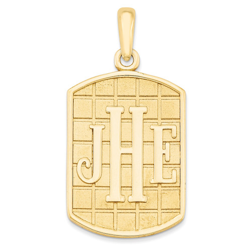 Antiqued or Sandblast Monogram Pendant 10k Yellow Gold Casted High Polished 10XNA526Y