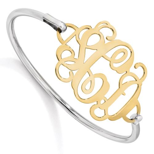 Monogram Bangle Bracelet Gold-plated Sterling Silver High Polished XNA505GP