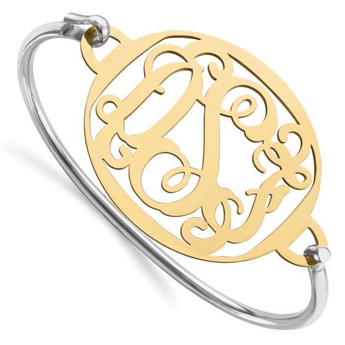 Monogram Bangle Bracelet Gold-plated Sterling Silver High Polished XNA508GP