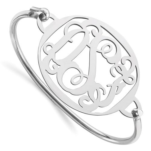 Monogram Bangle Bracelet Sterling Silver High Polished XNA508SS