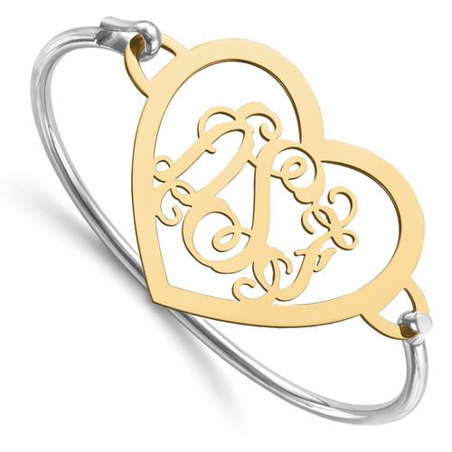 Monogram Bangle Bracelet Gold-plated Sterling Silver Laser High Polished XNA509GP