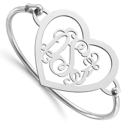 Monogram Bangle Bracelet Sterling Silver Laser High Polished XNA509SS