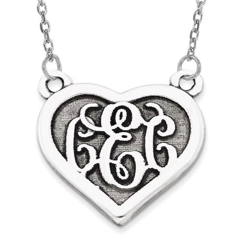 Heart Monogram Pendant 14k White Gold Casted High Polished with Sandblast background XNA510W