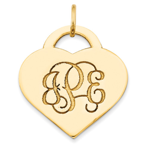 Letters Heart Monogram Pendant 14k Yellow Gold Casted High Polished XNA511Y