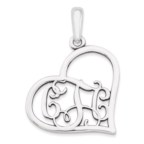 Monogram Heart Pendant Sterling Silver Casted Polished & Satin XNA520SS