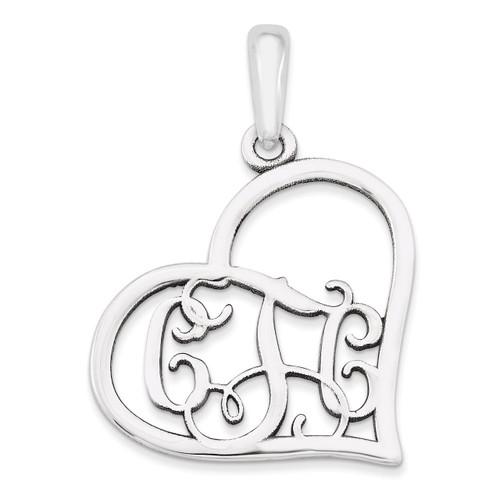 Monogram Heart Pendant 14k White Gold Casted Polished & Satin XNA520W