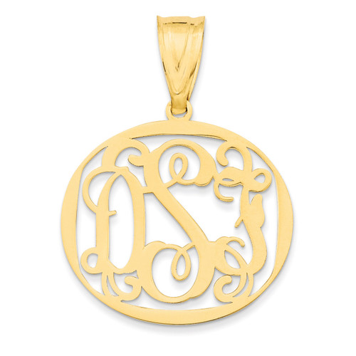 Monogram Circle Pendant Gold-plated Sterling Silver Laser High Polish XNA527GP