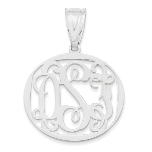 Monogram Circle Pendant Sterling Silver Laser High Polish XNA527SS