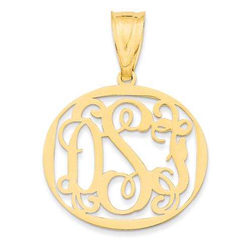 Monogram Circle Pendant 14k Yellow Gold Laser High Polish XNA527Y