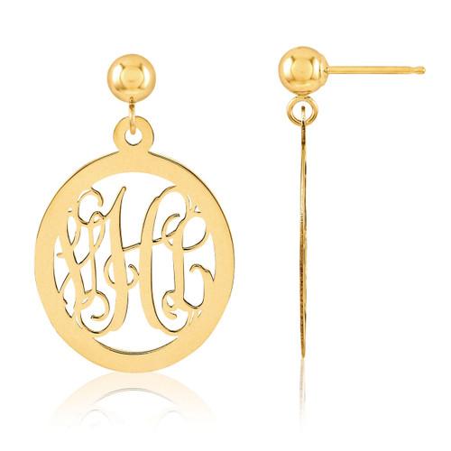 Monogram Earring 14k Yellow Gold XNE17Y