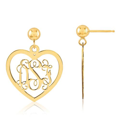 Monogram Earring 14k Yellow Gold XNE18Y