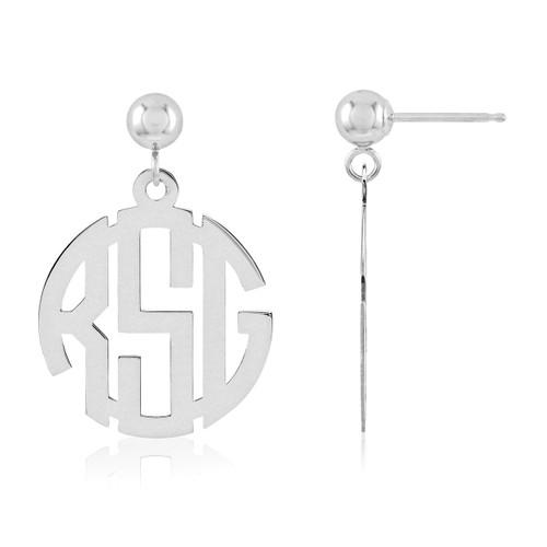 Monogram Earring 14k White Gold XNE21W