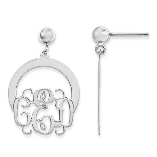 Monogram Dangle Earrings Sterling Silver Laser High Polished XNE22SS