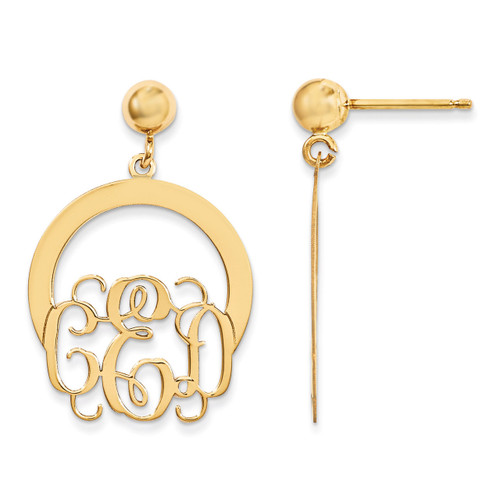 Monogram Dangle Earrings 14k Yellow Gold Laser High Polished XNE22Y