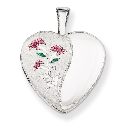 Enameled Lily Heart Locket Sterling Silver 16mm QLS255-18