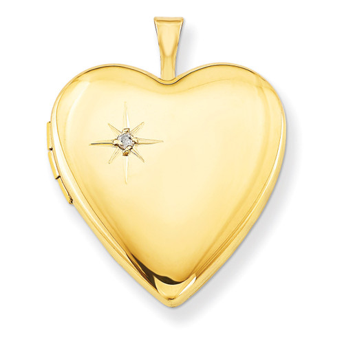1/20 Gold Filled 20mm Diamond Heart Locket 1/20 Gold Filled 20mm QLS275-18