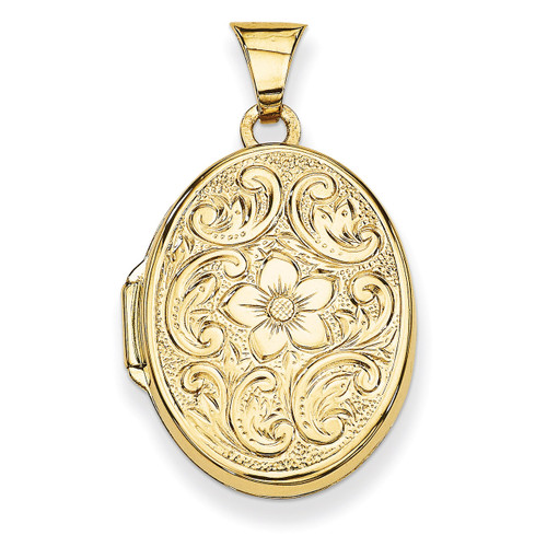 Scrolled Floral Locket 14k Yellow Gold XL110