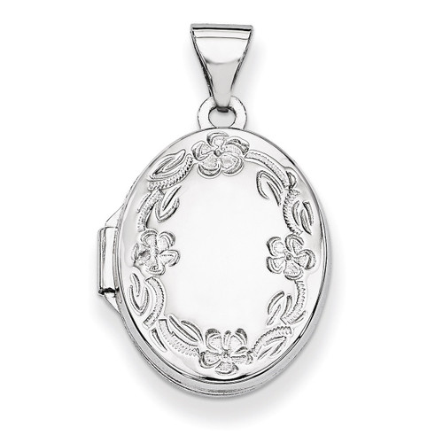 17mm Oval Leaf Floral Hand Engraved Locket 14k White Gold XL528