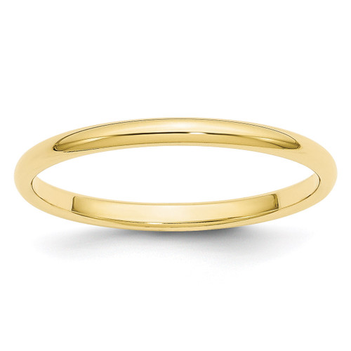 2mm Half Round Band 10k Yellow Gold Engravable 1HR020-10
