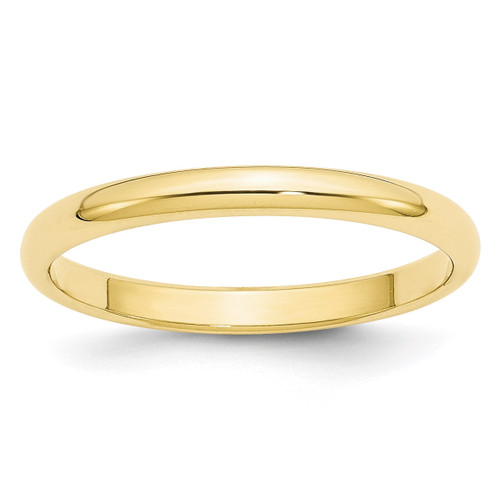 2.5mm Half Round Band 10k Yellow Gold Engravable 1HR025-10