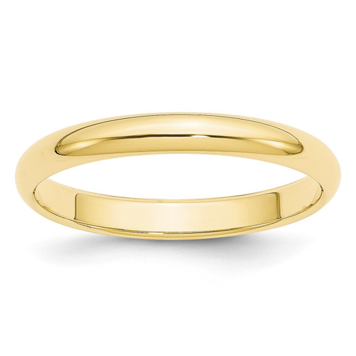 3mm Half Round Band 10k Yellow Gold Engravable 1HR030-12.5
