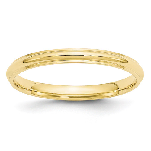 2.5mm Half Round with Edge Band 10k Yellow Gold Engravable 1HRE025-10