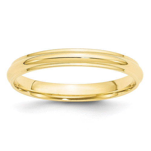 3mm Half Round with Edge Band 10k Yellow Gold Engravable 1HRE030-10
