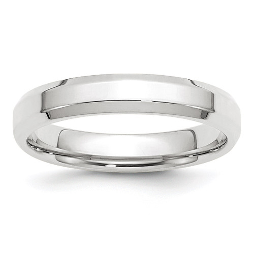 4mm Bevel Edge Comfort Fit Band 10k White Gold Engravable 1WBEC040-11