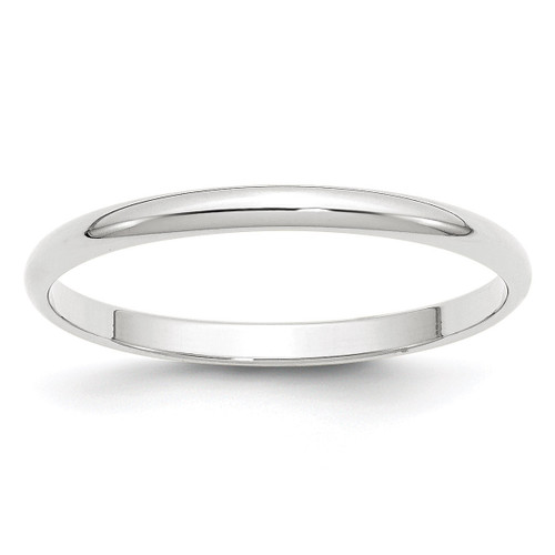 2mm Lightweight Half Round Band 10k White Gold Engravable 1WHRL020-10
