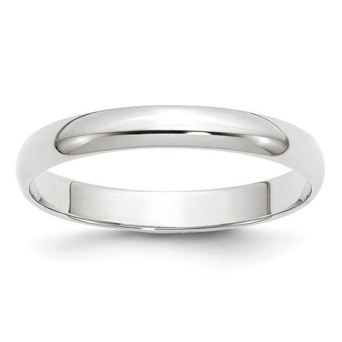 3mm Lightweight Half Round Band 10k White Gold Engravable 1WHRL030-10