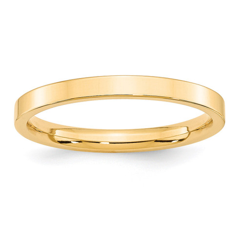 2.5mm Standard Flat Comfort Fit Band 14k Yellow Gold Engravable FLC025-7.5