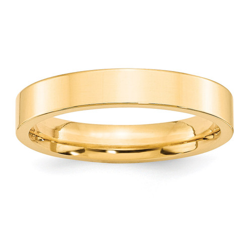 4mm Standard Flat Comfort Fit Band 14k Yellow Gold Engravable FLC040-10