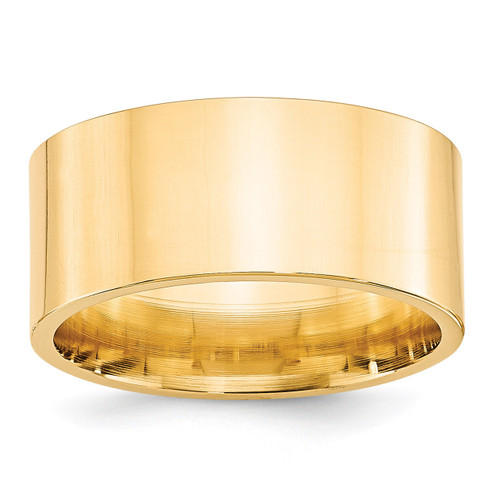 10mm Standard Flat Comfort Fit Band 14k Yellow Gold Engravable FLC100-10