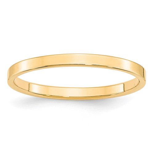 2mm Lightweight Flat Band 14k Yellow Gold Engravable FLL020-10
