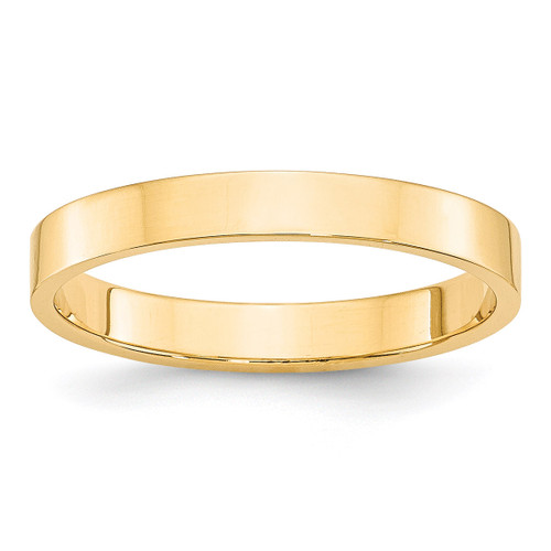 3mm Lightweight Flat Band 14k Yellow Gold Engravable FLL030-10