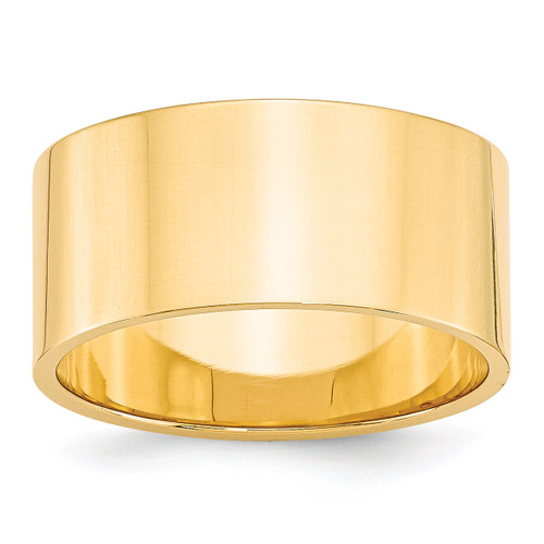 10mm Lightweight Flat Band 14k Yellow Gold Engravable FLL100-10