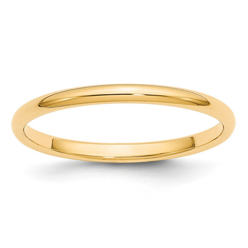 2mm Half Round Band 14k Yellow Gold Engravable HR020-10