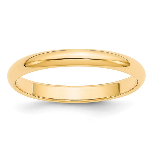 3mm Half Round Band 14k Yellow Gold Engravable HR030-12.5