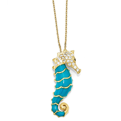 Cheryl M Gold-plated Enameled Cubic Zirconia Seahorse 18 Inch Necklace Sterling Silver QCM578