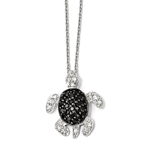 Cheryl M Black and White Cubic Zirconia Turtle Necklace Sterling Silver QCM809