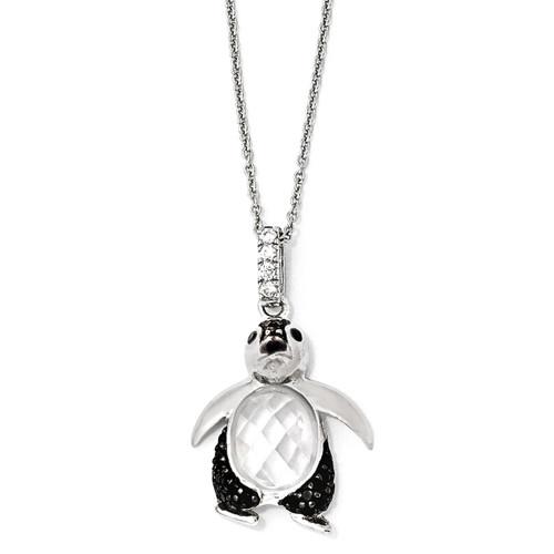 Cheryl M Rhodium Penguin 18 Inch Necklace Sterling Silver Cubic Zirconia QCM867