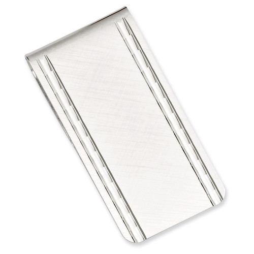 Kelly Waters Florentined Satin Money Clip Rhodium-plated GP3798