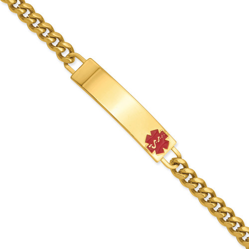 Kelly Waters Large Red Epoxy Medical ID Bracelet 8.25 Inch Gold-plated KW538-8.25