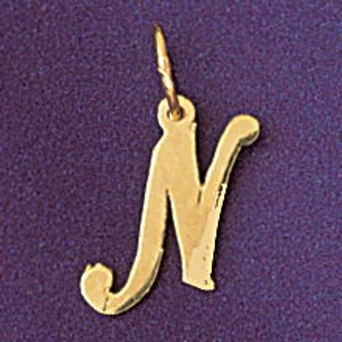 Initial N Pendant Necklace Charm Bracelet in Gold or Silver 9561n
