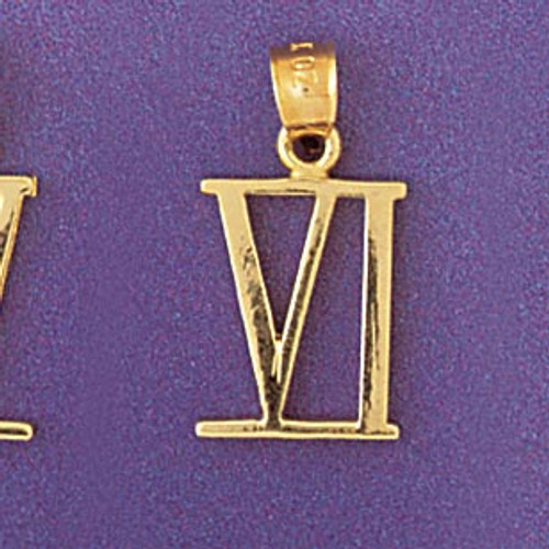 Roman Number 6 Pendant Necklace Charm Bracelet in Gold or Silver 95466