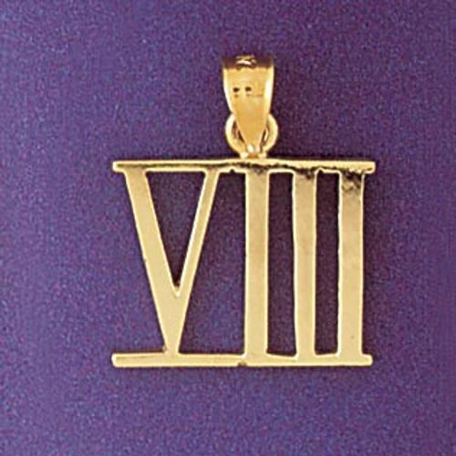 Number 8 charm bracelet or pendant necklace in 14k gold or silver dz roman number 8 pendant necklace charm bracelet in gold or silver 95468 aloadofball Choice Image