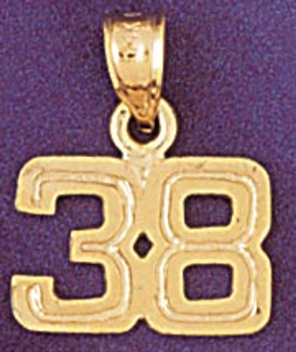 Number 38 Pendant Necklace Charm Bracelet in Gold or Silver 951138